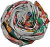Женский шарф 017439 акварельные цветы белый, фото 2