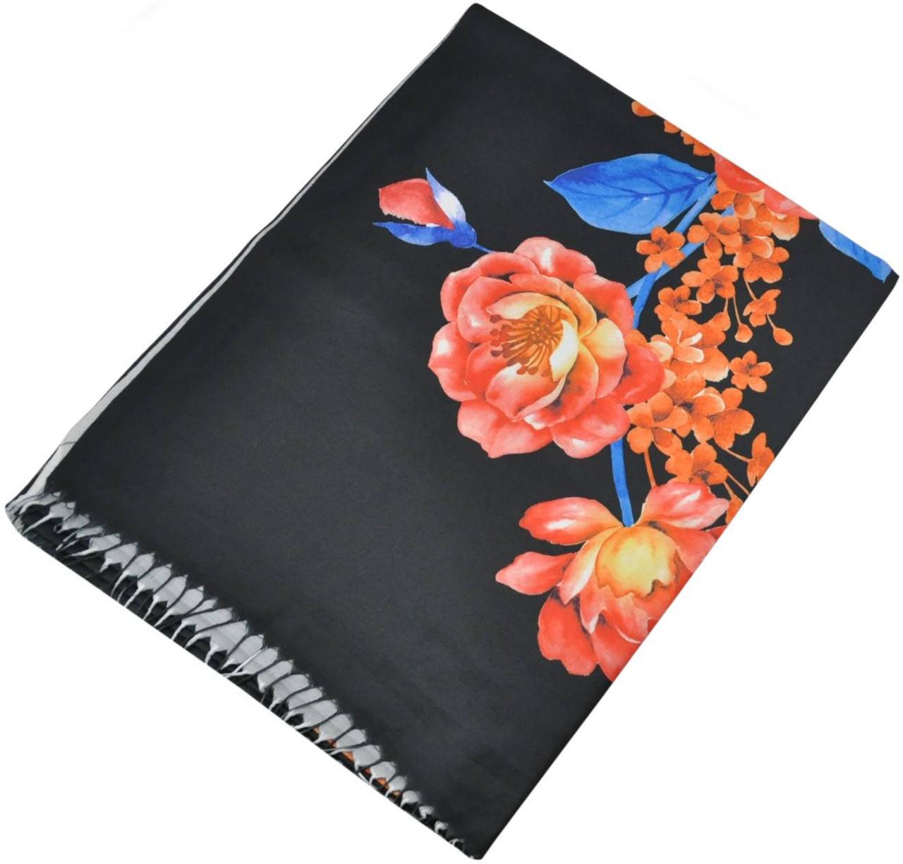 Женский шарф 017445 розы черный