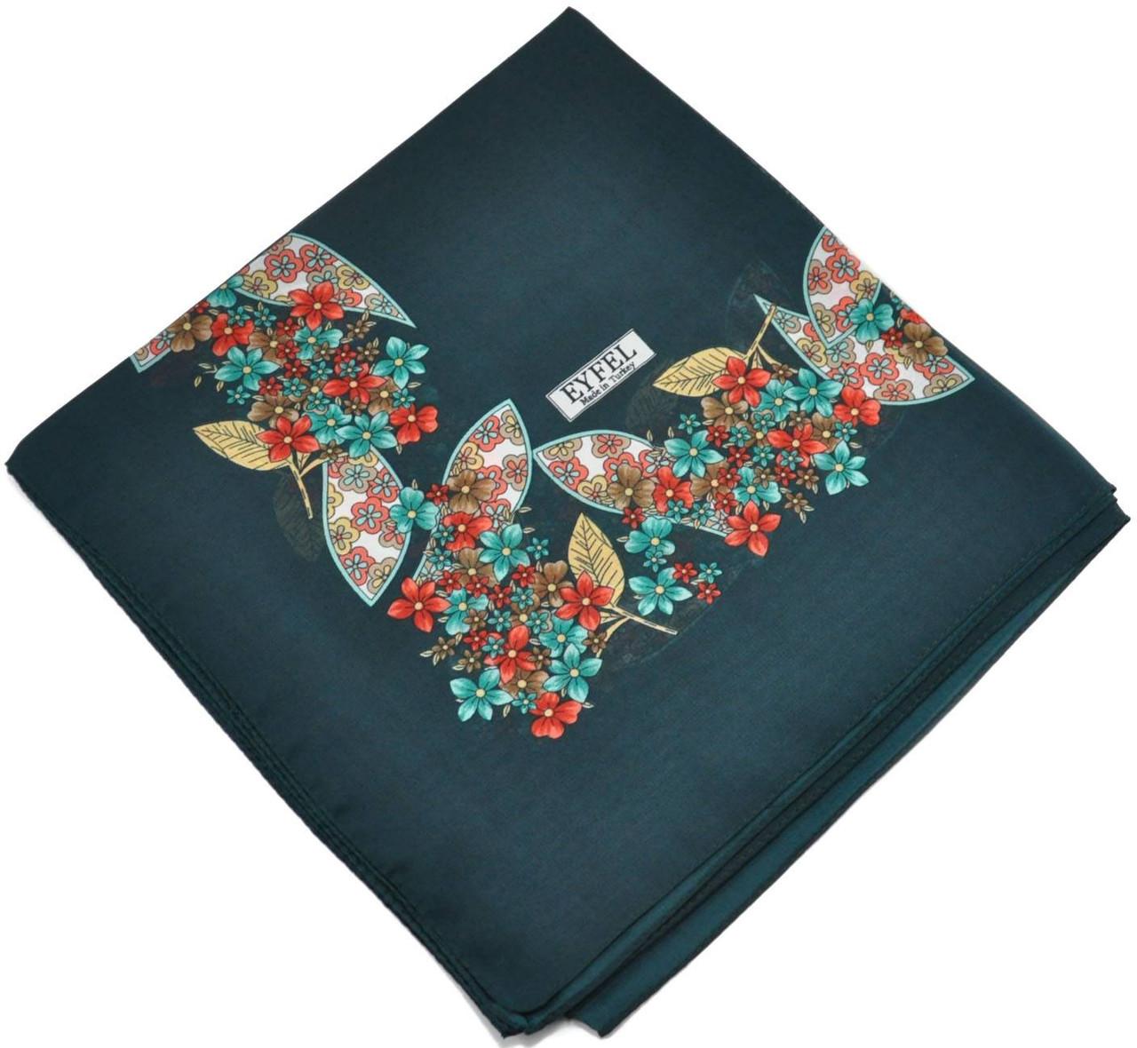 Женский платок 015570 цветочная поляна зеленый