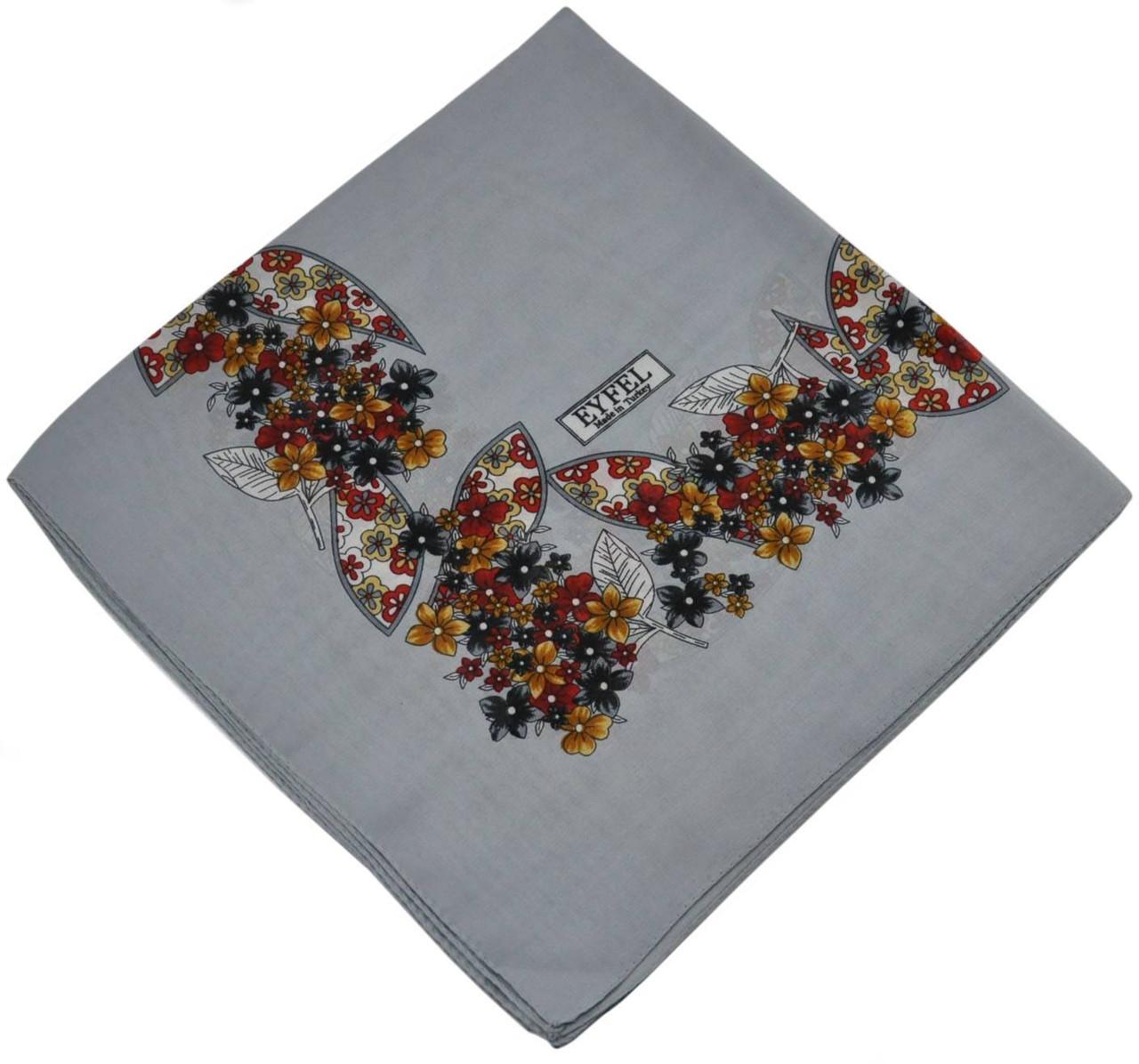 Женский платок 015571 цветочная поляна серый