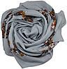 Женский платок 015571 цветочная поляна серый, фото 2