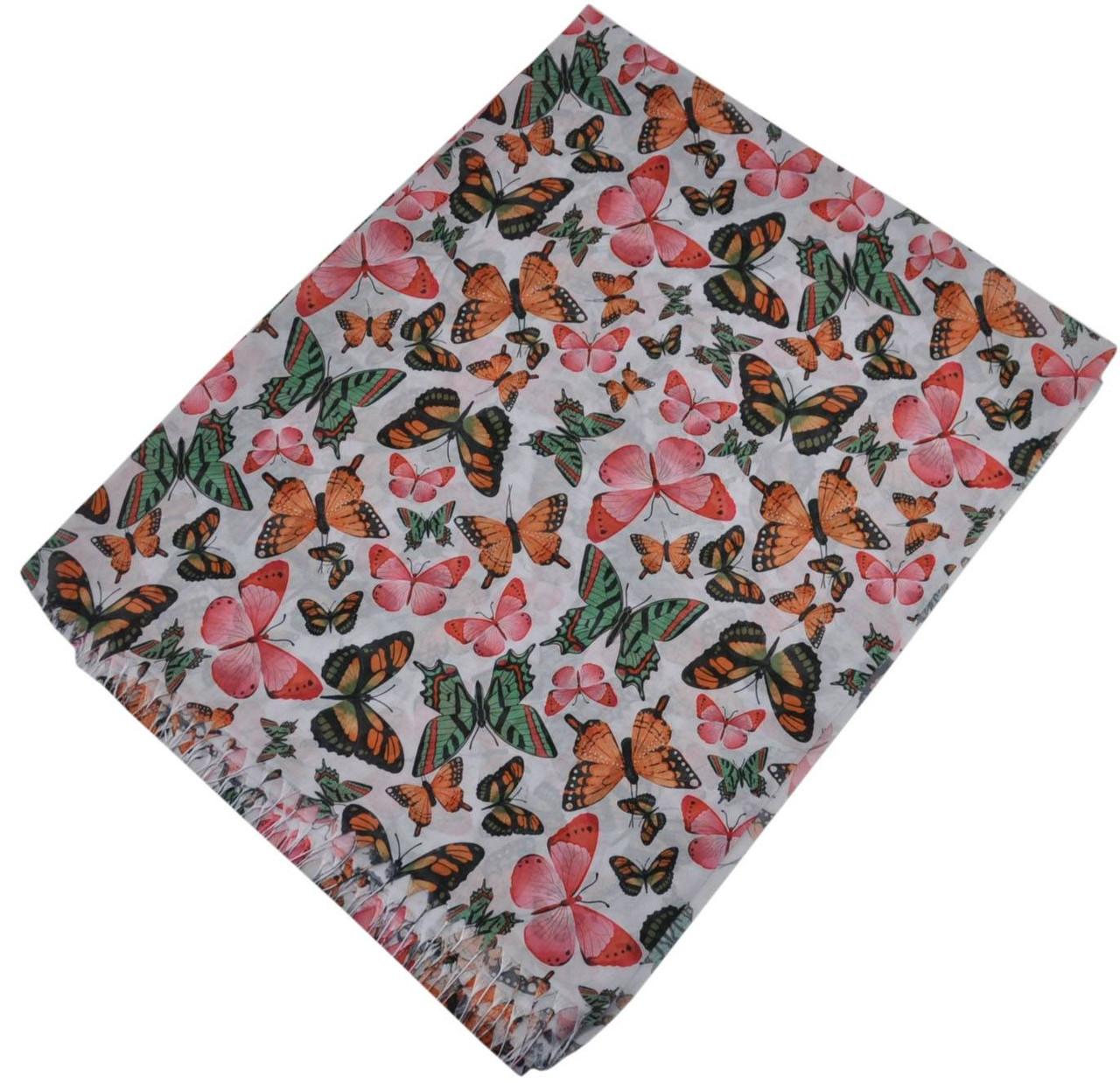 Женский шелковый шарф 017568 бабочки белый