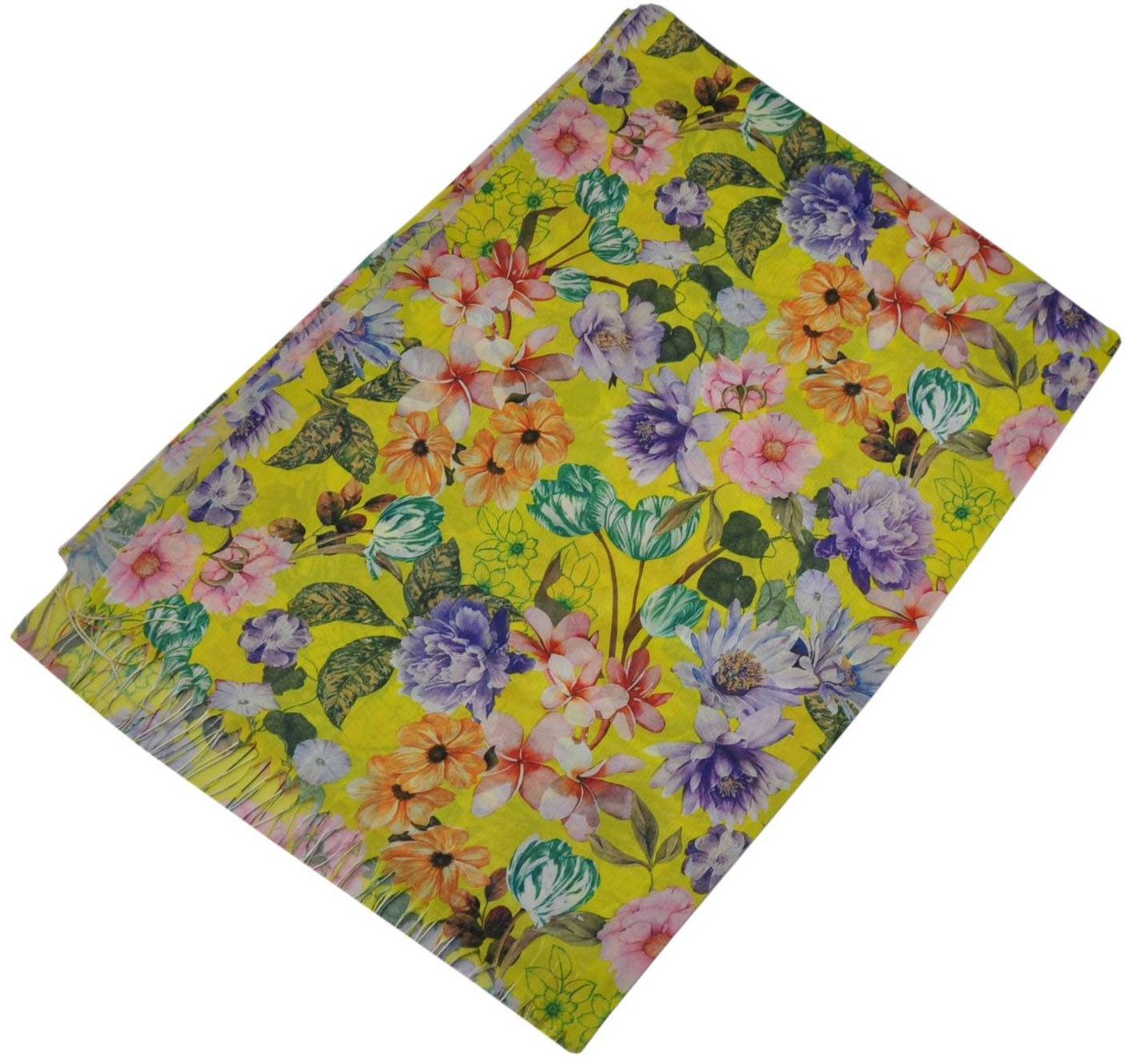 Женский шелковый шарф 017554 букет садовника желтый