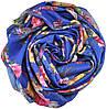 Женский шелковый шарф 017582 букет садовника синий, фото 2