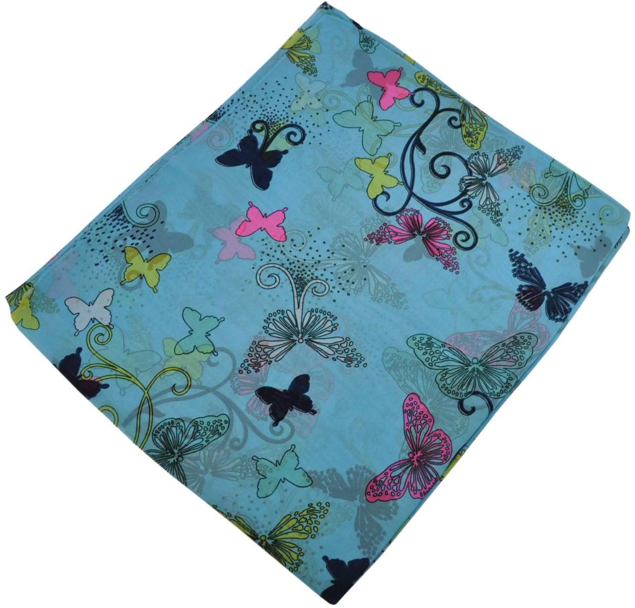 Женский шелковый шарф 017810 бабочки голубой