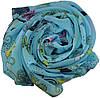 Женский шелковый шарф 017810 бабочки голубой, фото 2