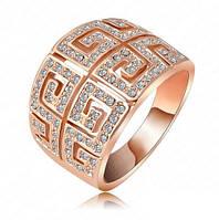 Позолоченное кольцо с австрийскими кристаллами р 16 код 954