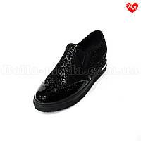 Замшевые женские туфли с лаковым носком