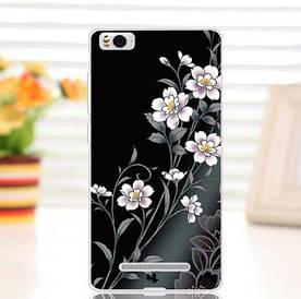 Силиконовый чехол для Xiaomi M4c / M4i накладка бампер с рисунком цветы