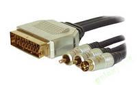 Шнур S-VHS+2RCA(тюльпан)-SCART