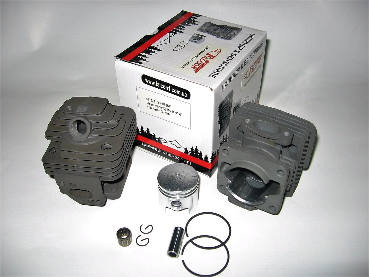 Цилиндр с поршнем для китайской мотокосы NTCG 330 + подшипник, покрытие хром, (d=36 мм)