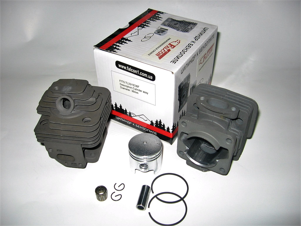 Цилиндр с поршнем для китайской мотокосы NTCG 2600 + подшипник, покрытие хром (d=34 мм)