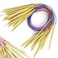 Спицы бамбуковые для вязания круговые 120 см набор 18 пар