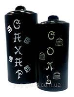 Набор  ёмкостей для сыпучих продуктов  керамический 2-х предметный  ( Соль+Сахар) чёрн.глянец