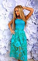 Платье Нарядное комбинированное ментол