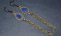 Серьги, антич.бронза, синий 145_11a3