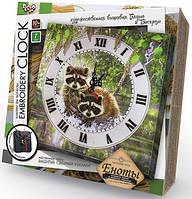 Вышивка гладью Часы Embroidery Clock: Енотики EC-01-01 Danko-Toys Украина