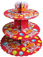 Трехъярусный стенд подставка для капкейков, красный  EM0312 (Empire Эмпаир Емпаєр) 