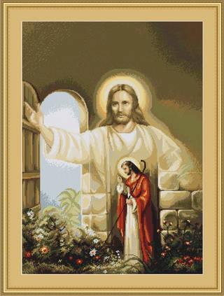 """Набор для вышивания нитками  """"Иисус стучащийся в дверь"""", фото 2"""