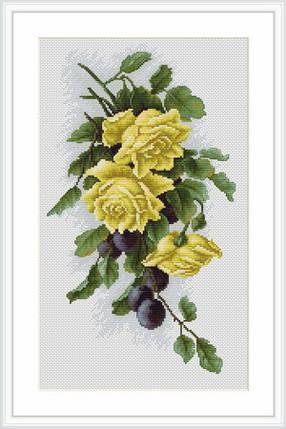 """Набор для вышивания нитками  """"Желтые розы со сливами"""", фото 2"""