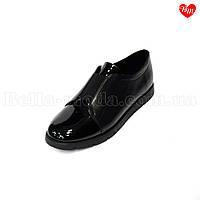 Женские туфли на резинке с лаковым носком, фото 1