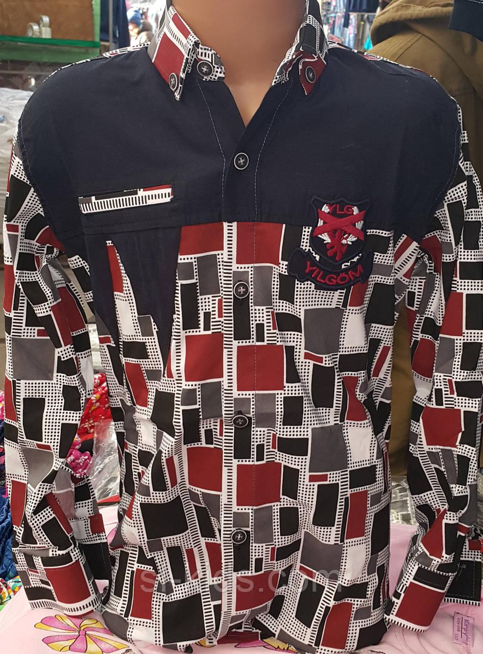 Рубашка для мальчика 6-14 лет (стрейч абстракция) (пр. Турция)