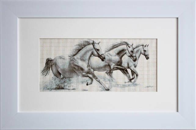 """Набор для вышивания нитками  """"Белые лошади"""", фото 2"""