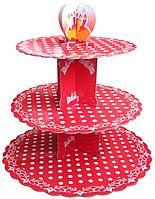Трехъярусный стенд подставка для капкейков,  EM0320 красный, белый горошек (Empire Эмпаир Емпаєр) 