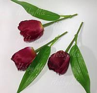 Тюльпаны искусственные ТЕМНО КРАСНЫЕ, насадка 3 шт. , фото 1