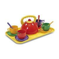 Набор детской посуды с чайником и подносом (14 предметов)