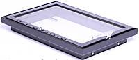 Дверка для камина Жарко 600х400 стальная с нержавеющей ручкой и с нижним поддувом (внешняя, внутреняя)
