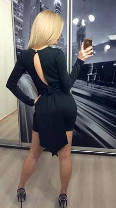 Платье коктейльное с бантом сзади, черное, фото 2