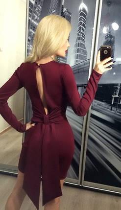Платье коктейльное с вырезом и бантом на спине ft-209 бордовое, фото 2