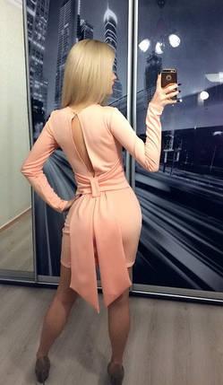 Платье коктейльное с вырезом и бантом на спине ft-209 персик, фото 2