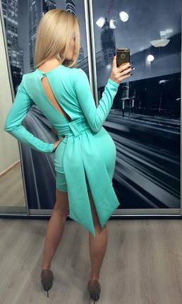 Платье коктейльное с бантом сзади ft-209 бирюзовое, фото 2