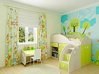 Детская комната D-2 с желто-салатовыми фасадами