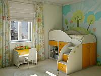 Детская комната D-4 с желто-оранжевыми фасадами
