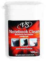 VS влажные чистящие салфетки для ухода за ноутбуком в малой тубе 100 шт.