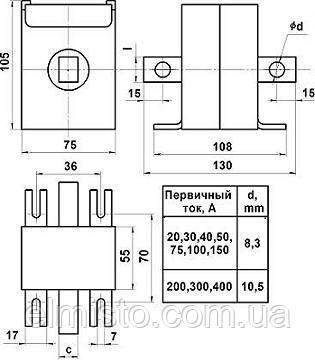 Габаритные, установочные и присоединительные размеры трансформаторов Т0,66