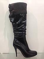 Сапоги женские весна осень из натуральной кожи на каблуке
