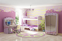 Детская комната D-3 с розовыми и белыми фасадами
