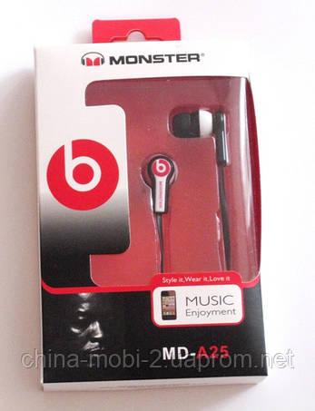 Наушники копия Monster Beats MD-A25 черные, фото 2