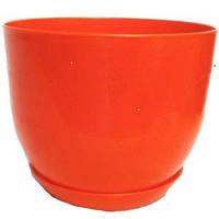 Горщик Глянець Класік з підставкою / Горшок Глянец d-13см,h-11см,v-1л (оранжевий)