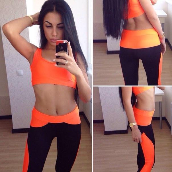 Яркий спортивный костюм для спорта и фитнеса, материал бифлекс  яркий топ и  леггинсы - 0e99095a589
