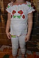 Комплект детский, вышыванка+бриджи/лосины, 100% ХБ, р.60., фото 1