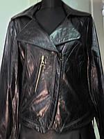 Пиджак кожаный на молнии косуха длина-55см  48р 50р