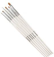 Набор кисточек G. La color для наращивания гелем и дизайна ногтей с белой ручкой (6 шт)