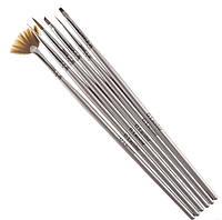 Набор кисточек G. La color для наращивания гелем и дизайна ногтей с серой ручкой (6 шт)