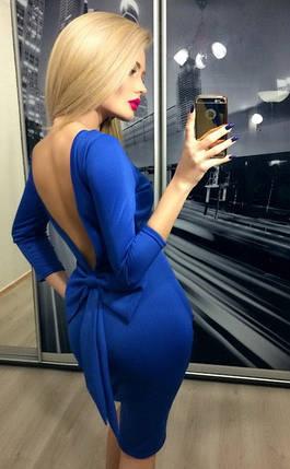Платье обтягивающее с открытой спиной, электрик, фото 2