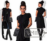 """Длинная кашемировая жилетка с накладными карманами дополнены съемным мехом """"Natalie"""" Черный, S"""